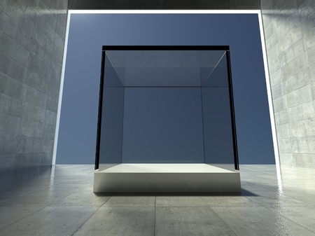 Empty glass showcase, 3d exhibition space Stock Photo - 26443930