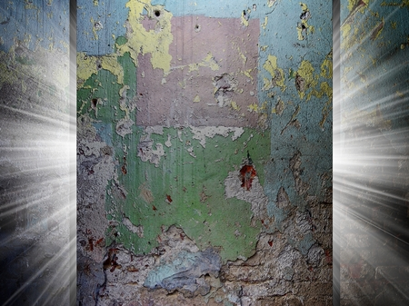 Grunge old wall texture, 3d presentation photo