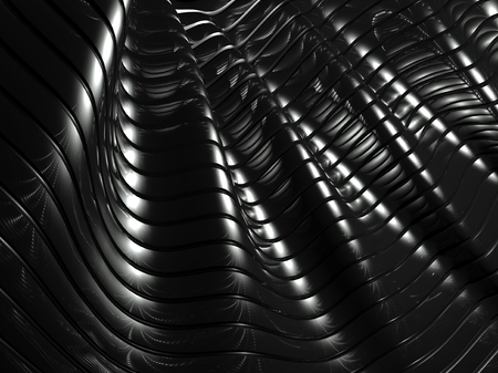 3d wavy aluminium background, abstract silver pattern photo