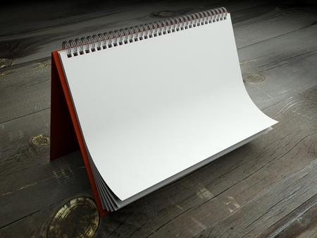 3d paper texture in blank calendar on table photo