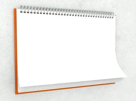 3d paper texture in blank wall calendar photo