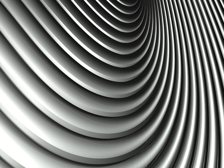3d wavy aluminium background, abstract silver pattern photo