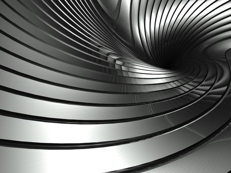 3 d 波状アルミニウムの背景、抽象的な銀旋回 写真素材 - 26444884