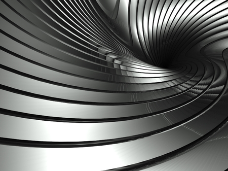 concave: 3d wavy aluminium background, abstract silver swirl
