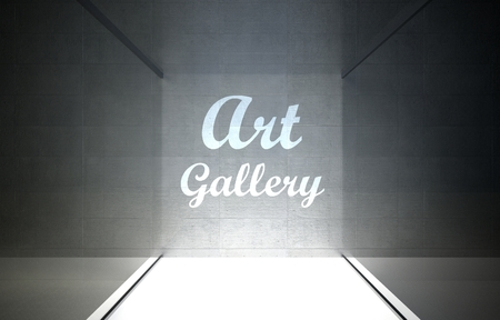 Art gallery in glass showcase for exhibit photo