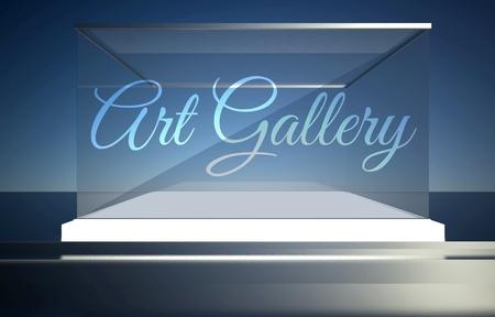 Art gallery on empty glass showcase for exhibit photo