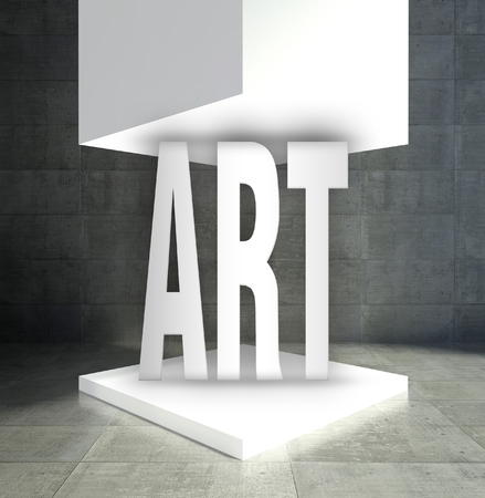Art word in empty exhibition showcase photo