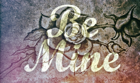 Be Mine message on stone rose background photo