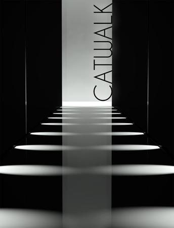 暗いデザイン、ファッションのキャットウォークの滑走路の背景 写真素材