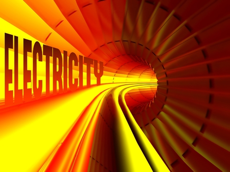 isolator: Electricity concept, energy flow inside of cable Stock Photo