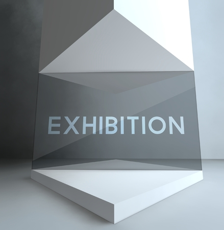 Exhibition, inscription in gallery showcase Stock Photo - 26649852