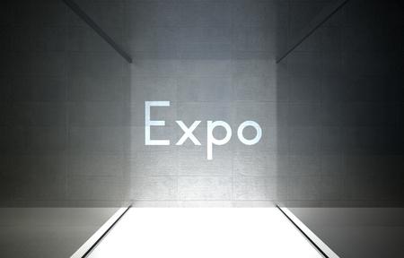 Expo in glass showcase for exhibit photo