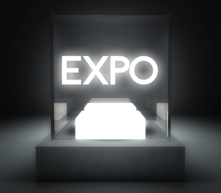 Expo in glass showcase for exhibit Stock Photo - 26649855