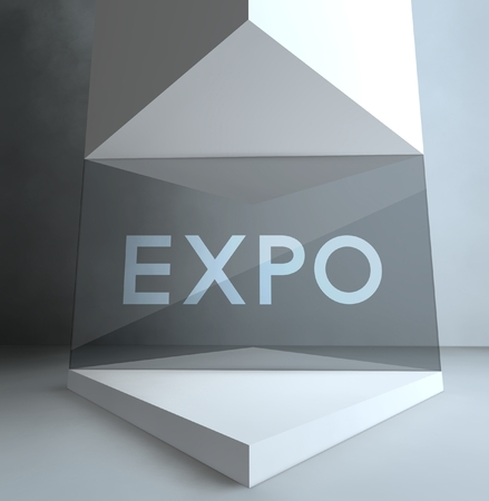 Expo inscription in gallery showcase photo