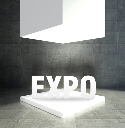 Expo word in empty gallery showcase Stock Photo - 26649861