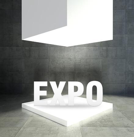 Expo word in empty gallery showcase Stock Photo - 26649861