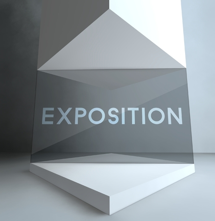 Exposition inscription in gallery showcase Stock Photo - 26649864