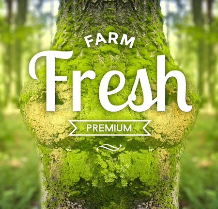 eco slogan: Farm Fresh Premium slogan on tree, ecology concept