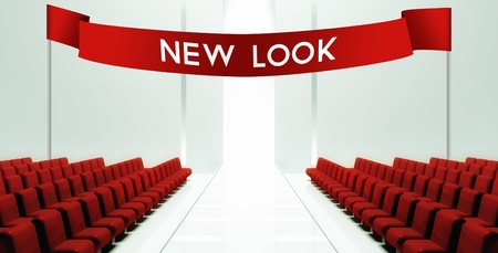 new look: Fashion new look, empty runway background Stock Photo
