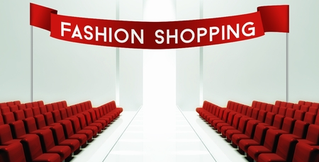 stage door: Fashion shopping slogan on ribbon, empty runway background Stock Photo