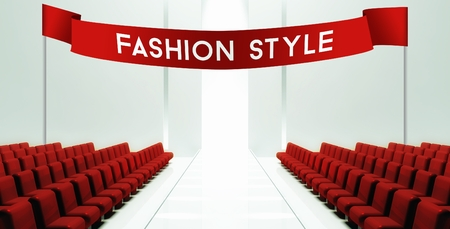 stage door: Fashion style slogan on ribbon, empty runway background
