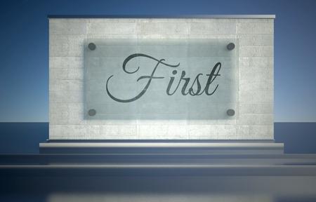 primer lugar: En primer lugar la muestra en pedestal podio de piedra