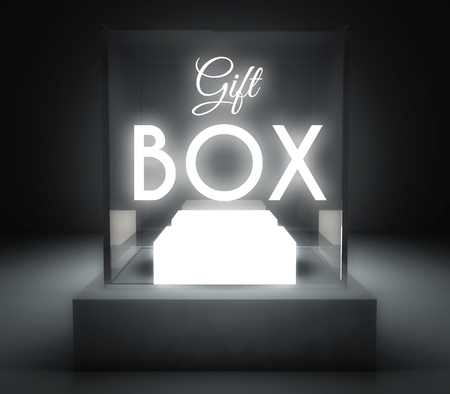 Gift box in glass showcase for exhibit photo