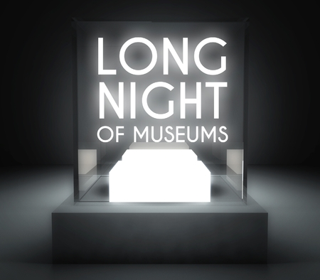 Long night of museums in glass showcase for exhibit photo