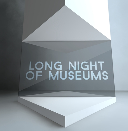 long night: Long night of museums inscription in gallery showcase