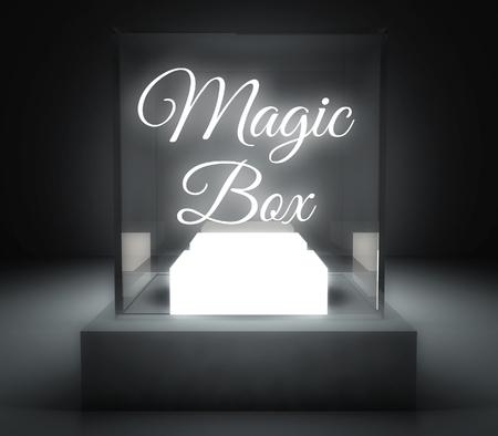 Magic Box in glass showcase for exhibit Stock Photo - 26649660