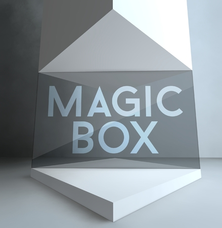 Magic box inscription in gallery showcase photo