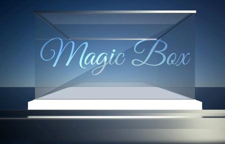 boutique display: Magic box on empty glass showcase for exhibit Stock Photo