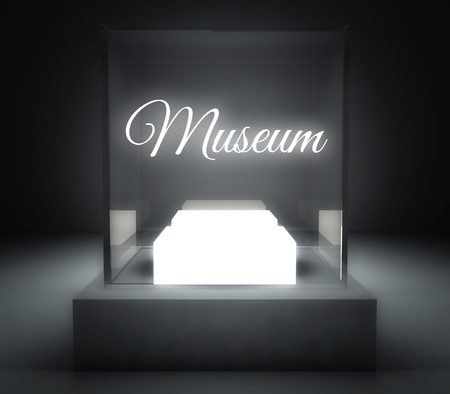 Museum in glass showcase for exhibit photo