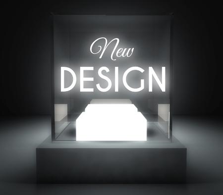 New design in glass showcase for exhibit Stock Photo - 26649455