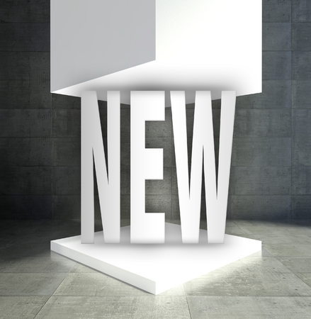 New word in empty exhibition showcase Stock Photo - 26649464