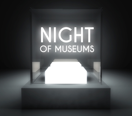 Night of museums in glass showcase for exhibit photo