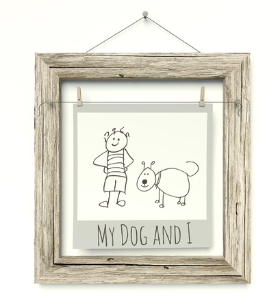Old wooden photo frame with Family Sketch photo