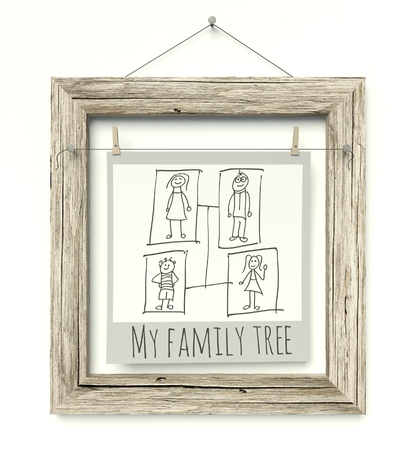 Old wooden photo frame with Family Tree photo