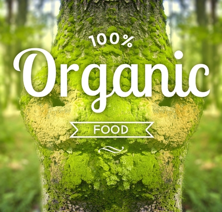 eco slogan: Organic food slogan on tree, ecology concept