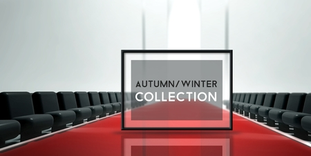 stage door: Red carpet runway, Fashion Autumn Winter Collection Stock Photo