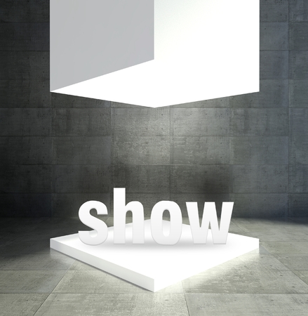 Show word in empty gallery showcase photo