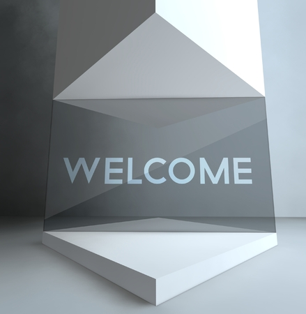Welcome inscription in gallery showcase Stock Photo - 26649545