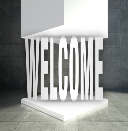 Welcome word in empty exhibition showcase Stock Photo - 26649537