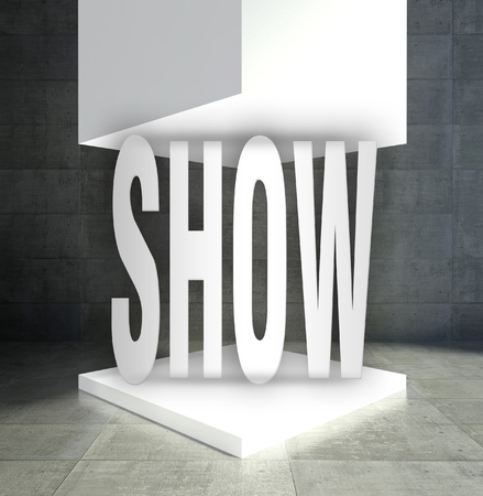 Show word in empty exhibition showcase photo