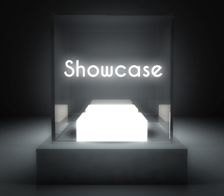 Showcase in glass box for exhibit photo