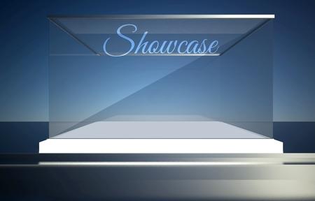 Showcase on empty glass box for exhibit Stock Photo - 26649580
