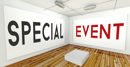 special event: Special event on frame wall in gallery interior Stock Photo