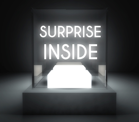Surprise inside in glass showcase for exhibit Stock Photo - 26649624