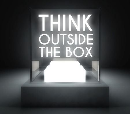 thumbnail: Think outside the box in glass showcase for exhibit Stock Photo