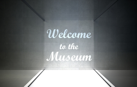 Welcome to musuem in glass showcase for exhibit photo